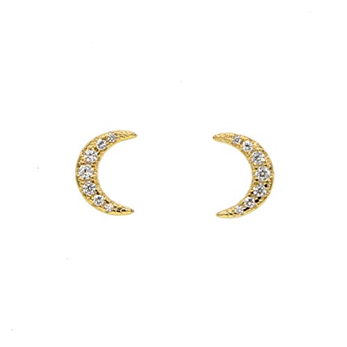 Sterling Vermeil Moon Stud Earring for Girl Elegance Cute Lovely Moon Minimal Delicate Jewelry (Vermeil Plated Earring Studs)