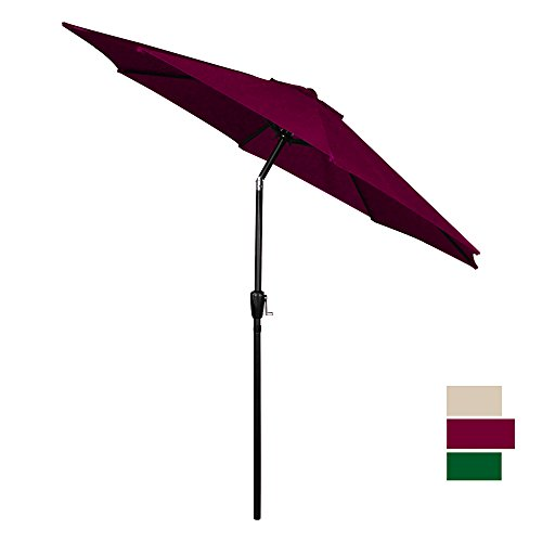 Burgundy Patio Umbrella (CMP 9 ft Patio Umbrella Outdoor Table Umbrella Market Umbrella with 8 Sturdy Ribs, Burgundy)
