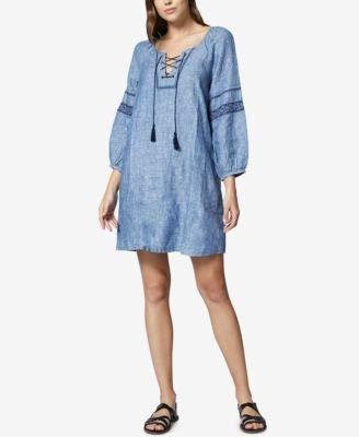 (Sanctuary Women's Mirabelle Lace-Up Dress Raven Wash Small)
