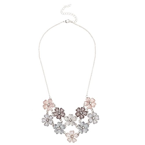 Lux accessories faux white pink grey mauve floral flower statement lux accessories faux white pink grey mauve floral flower statement necklace mightylinksfo