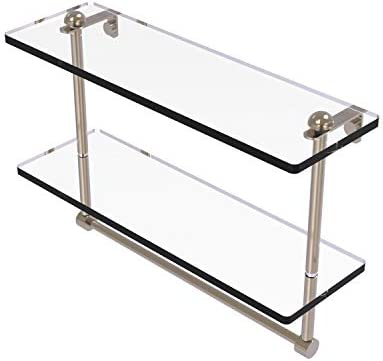 Allied Brass RC-2 16TB 16 Inch Two Tiered Integrated Towel Bar Glass Shelf, Antique Pewter