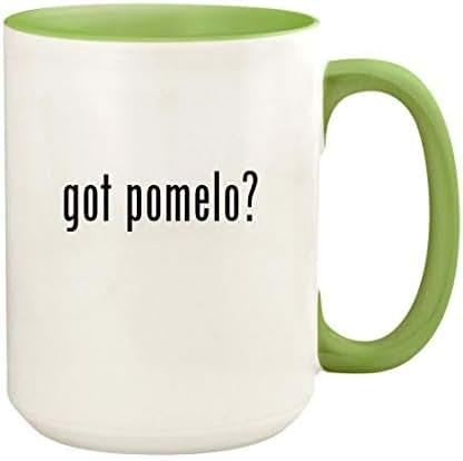 got pomelo? - 15oz Ceramic Colored Handle and Inside Coffee Mug Cup, Light Green
