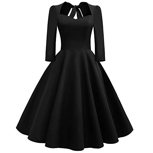 Rakkiss Fashion Women Solid V-Neck Back Hollow Out Bow Draped Holiday Vintage Dress Black