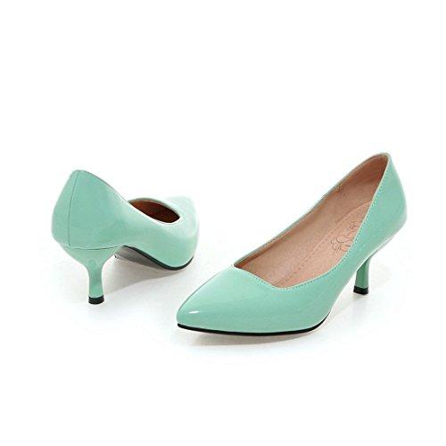 YL Frauen Niedrige Ferse Spitze Zehe Süßigkeit Farbe der Pumps Schuhe Grün