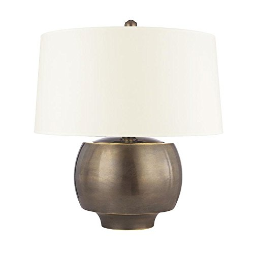 Holden 1-Light Table Lamp - Distressed Bronze Finish with White Faux Silk Shade -  Hudson Valley Lighting, L164-DB-WS