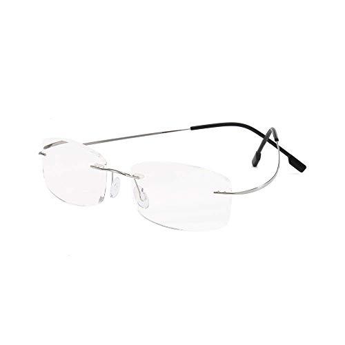 - KoKoBin Rimless Reading Glasses Memory Metal Frame Ultra Thin Readers for Men Women Rectangular Lens Silver 2.00 Strength