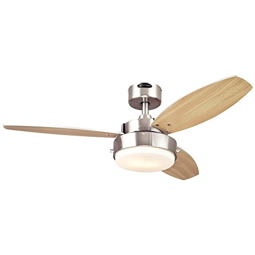 Westinghouse 7247300 Alloy Two-Light Reversible Three-Blade Indoor Ceiling Fan, 42-Inch, Brushed Nickel Finish with Opal Frosted Glass (Ceiling Fan With 3 Lights)