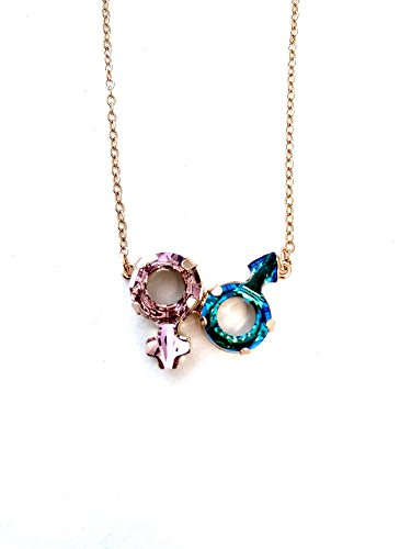 Swarovski Fancy Stone Male and Female Symbol Necklace for sale  Delivered anywhere in USA