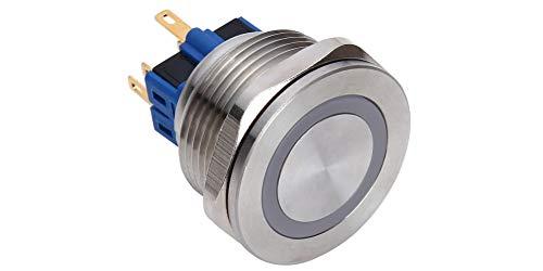 25mm Flat 1NO 1NC Self-reset LED Ring-Illuminated Push Button Switch 12V