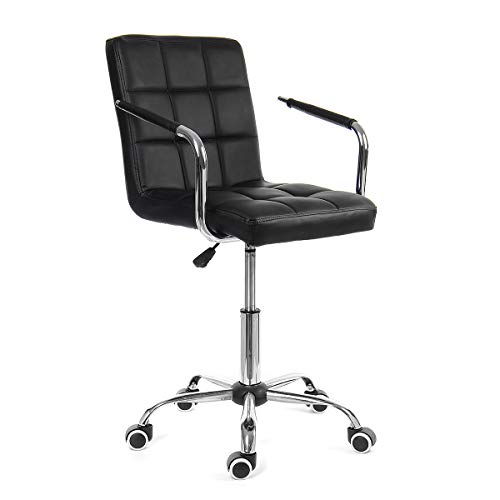 KingSo Home Office Desk Chairs Leather Material Liftable Adjustable Computer Desk Task Office Chair (Black)