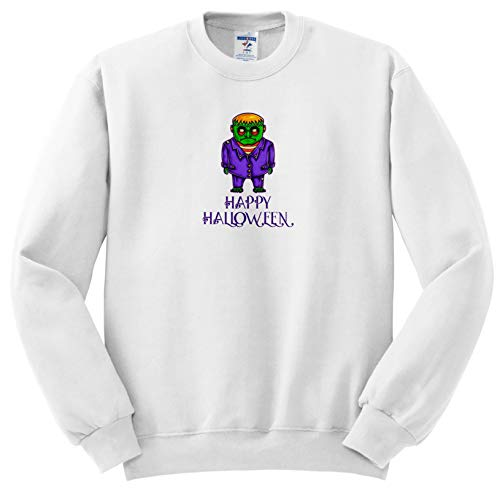 Alexis Design - Funny Characters - Green Monster in a Purple Suit. A Text Happy Halloween. Funny Decor - Sweatshirts - Adult Sweatshirt 2XL (ss_295038_5)