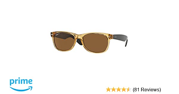 8c82c9b9cc Amazon.com  Ray-Ban RB 2132 945 57 55mm New Wayfarer Honey W  Crystal Brown  Polarized Lens  Clothing