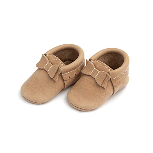 Freshly Picked - Soft Sole Leather Bow Moccasins - Baby Girl Shoes - Size 2 Weathered Brown ()