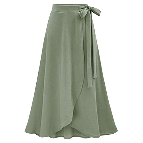 Creazrise Women's Fashion Solid Color Flowy Split Long Maxi Skirt High Waist Bandage Work Dress Green