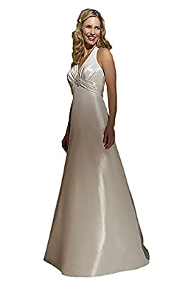 Wedding Dress by Allure Bridals 2254 V-Neck Halter Train - Ivory/Silver, size 12