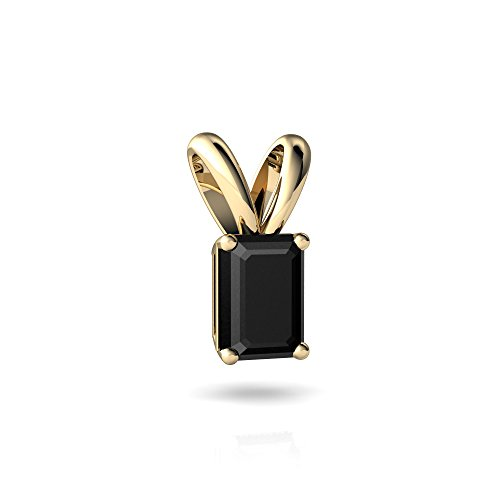 Emerald Cut Solitaire Pendant - 14kt Yellow Gold Black Onyx 7x5mm Emerald_Cut Solitaire Pendant