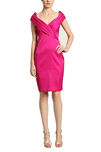 Badgley Mischka Surplice Wrap Bodice Knee Length Sleeveless Dress, Hot Magenta, Size 12