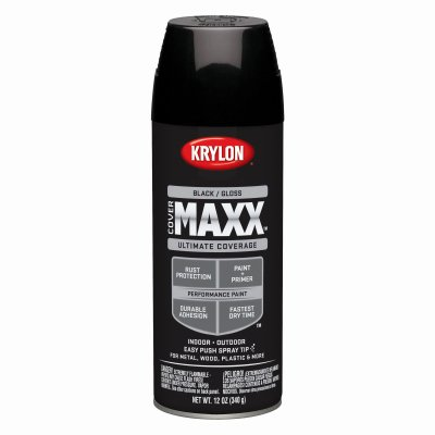 Case of 6, Krylon COVERMAXX, 12 OZ, Black, Gloss, Brilliant