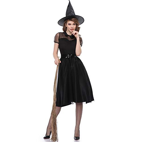 Zooka Women Gothic Vampire Witch Costume Black Sexy Halloween Themed Fancy Dress Outfits -