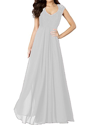 VaniaDress Chiffon Sleeveless Long Bridesmaid Dress Lace Prom Gowns V278LF White US2
