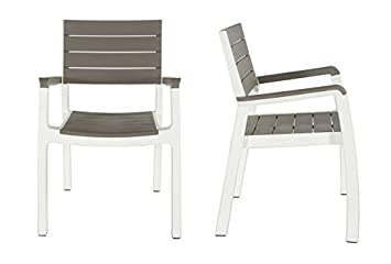Keter Harmony Indoor Outdoor Stackable Patio Furniture Armchair Set Modern Wood Style Finish, Pack of 2 Chairs
