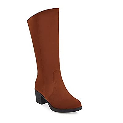 BalaMasa Womens Comfort Platform Slip-Resistant Casual Suede Boots ABL10078