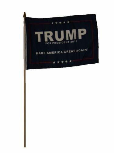 12''x18'' Donald Trump Blue Make America Great 2016 Stick Flag Wood Staff - Vivid Color and UV Fade Resistant - Prime Outside Garden Home Decor