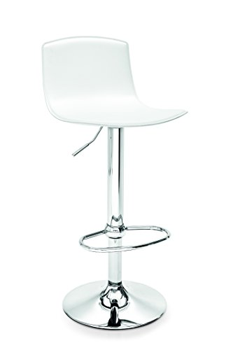 Connubia Egg Swivel Stool - Metal Stained Chromed Frame - Regenerated Leather Optic White Seat