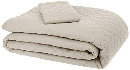 AmazonBasics Oversized Quilt Coverlet Bed Set - Twin, Beige Diamond (Bedspread Quilted Sets)