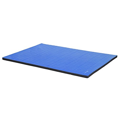 6'x4' Blue Folding Gymnastics Mat Gym Tumbling Pilates Yoga Wrestling MMA Judo Plyometrics Stretching Pad Aerobics Stretching Exercise Fitness Floor Workout Mat Water Resistant Surface by HPW