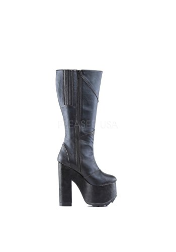 Demonia Women's Cramps 201 Boot,Black Vegan Leather,US 10 M (Patchwork Knee Boot Platform)