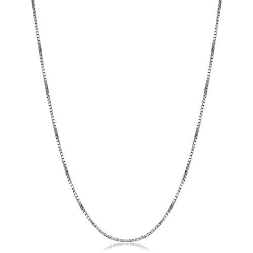 Venetian White 14k Box Gold (14k Solid White Gold Venetian Box Chain Necklace (1mm, 18 inch))