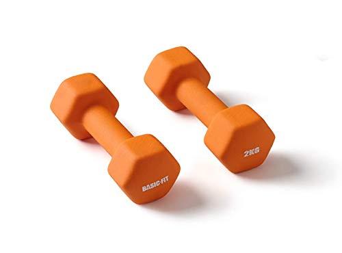 NXT Level 5.DUMBELL.2KG, Basic Fit – Dumbbell Set – Dumbbells, Rubber – Oranje – 2 x 2 kg, 183 x 33 cm