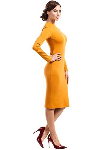 Clea Ausschnitt Kleid Hautenges Gelb mit Hohem aqaRwg