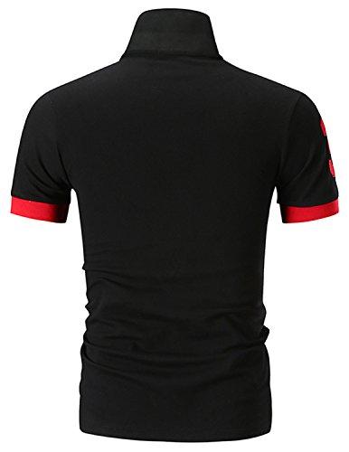 Uomo T shirt Nero Ycueust Polo Manica Ricamo Cotone 2 Giraffa Pulsanti Casual Corta RB1fU