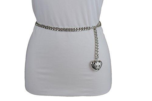 TFJ Women Fashion Skinny Belt Narrow Hip High Waist Silver Metal Chain Love Heart Buckle M L XL by Trendy Fashion Jewelry (Image #1)