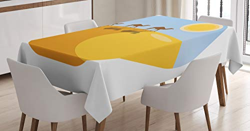 Ambesonne Egyptian Tablecloth, Camel Silhouettes on Desert Sand Dune Hill, Dining Room Kitchen Rectangular Table Cover, 52 W X 70 L Inches, Marigold Earth Yellow Pale Sky Blue and Chocolate