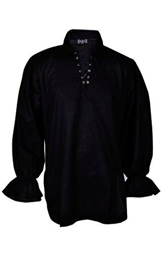 [BARES Renaissance Casual Pirate Shirt Medieval Men Costume Black Large Size] (Medieval Man Costume)