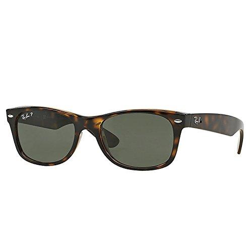 Ray Ban Wayfarer RB2132 902/58 Tortoise/Crystal Green Polarized 52mm Sunglasses (New Wayfarer 2132 52)