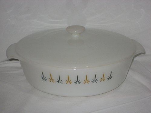 Vintage Anchor Hocking Fire-King Candle Glow Pattern 2 Quart Round Covered Casserole Baking Dish w/ Lid (Fire King Glass Casserole)