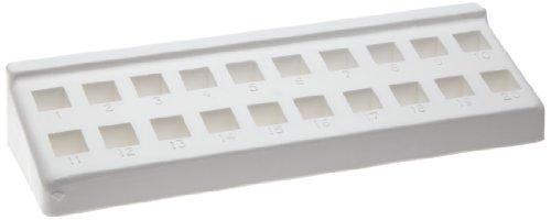 Bel-Art F18515-0000 Spectro Cuvette Rack; 10mm, 20 Places, 8¼ x 2¾ x 1⅜ in., Polypropylene Cuvette Rack