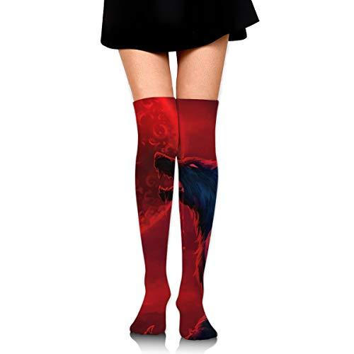 CKDKE2 Holiday Werewolf Bloodmoon Thigh High Tube Socks Printed Long Socks Tube Socks for Team