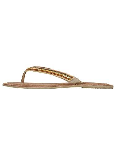 Flipflop Gold adornada Sandals Bead Co Flat Summer M Gold Correa Ladies Hfx0wOZttq