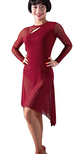 Latin Skirt Waltz Red Cha Sexy Dress Ballroom 5wHnaxnTzq