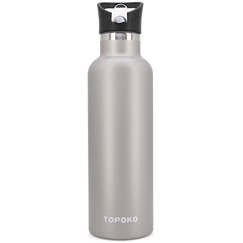 TOPOKO 25 OZ Double Wall Water Bottle Straw Lid with Handle, Vacuum Insulated Stainless Steel Bottle, Sweat Proof, Leak Proof Thermos Standard Mouth, Vacuum Seal Cap Mug (Grey)