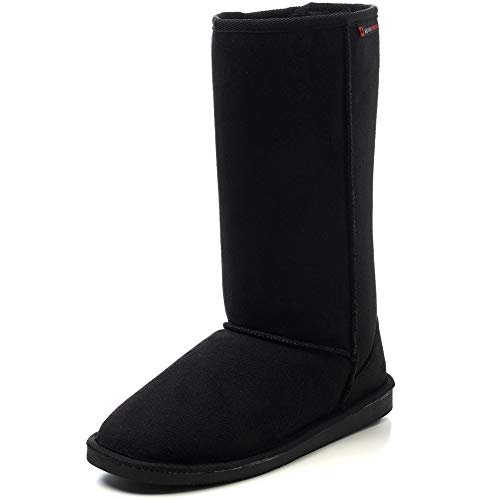 "alpine swiss Womens 12"" Tall Mid Calf Winter Boots Faux Shearling Aussie Classic BLK 7 M US"