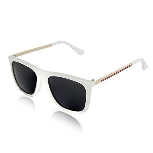 Wayfarer Polarized Sunglasses for Men and Women Retro Vintage Sun Glasses (Striped White, - Womens Sunglasses Running