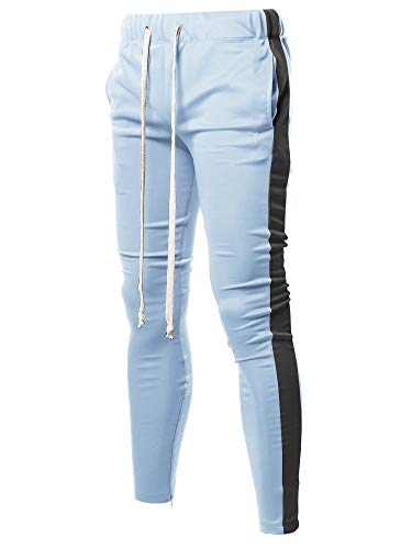 Style by William Casual Side Panel Long Length Ankle Zipper Track Pants Light Blue Black XL