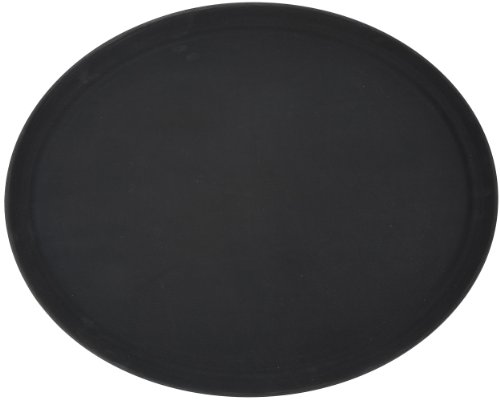 Winco Oval Fiberglass Tray with Non-Slip Surface, 26-Inch by 22-Inch, Black