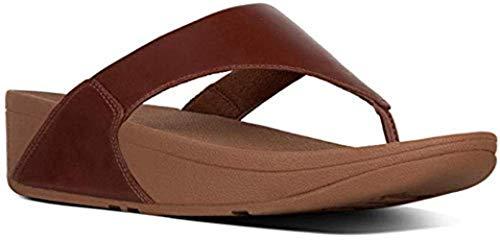 (FitFlop New Women's Lulu Leather Thong Sandal Cognac 8 )